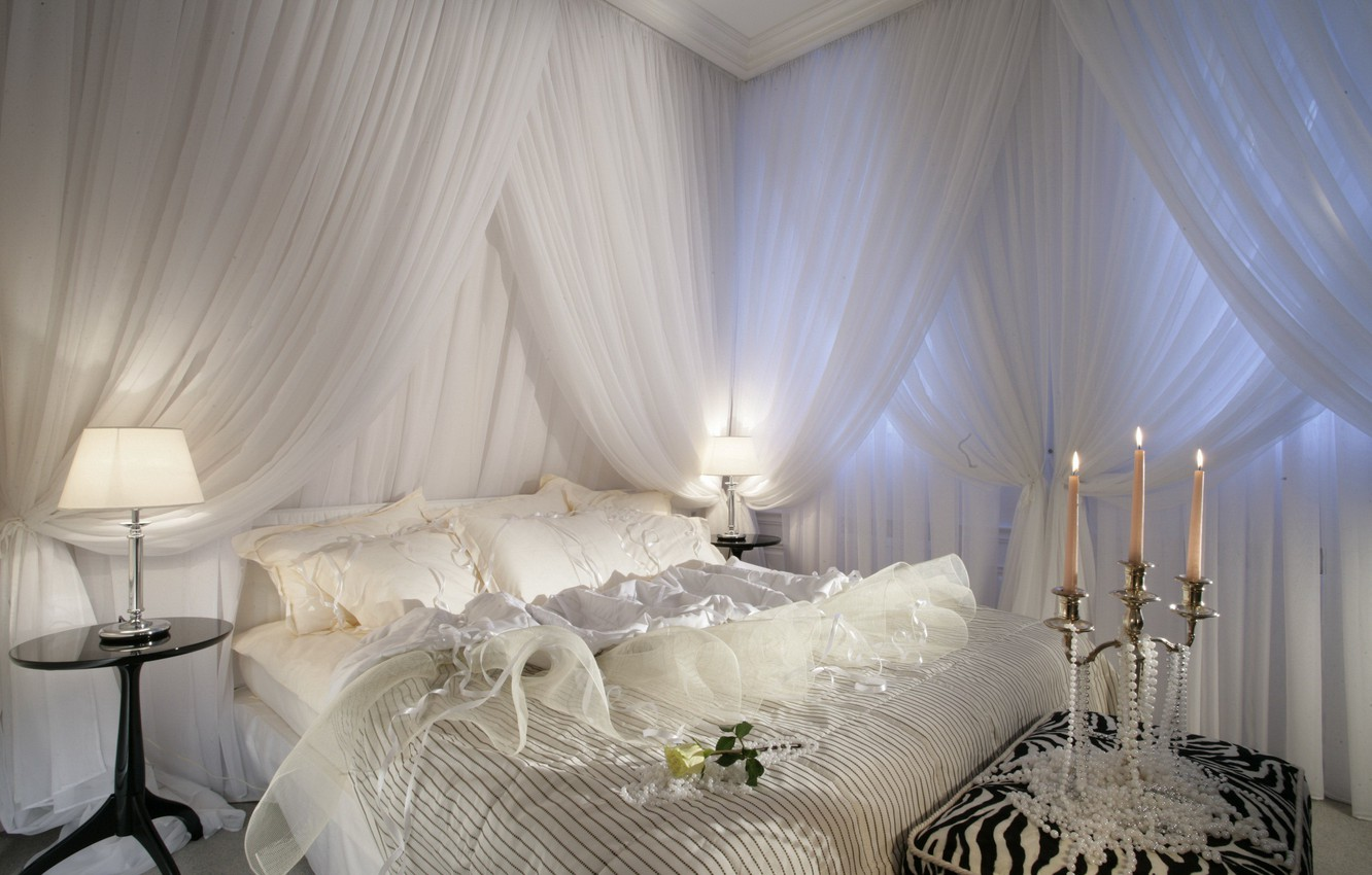 Photo wallpaper white, light, design, lamp, furniture, bed, candles, Suite, Bedroom