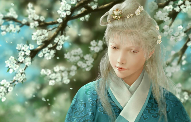 Photo wallpaper girl, flowers, art, kimono, barrette, albino, dtjun