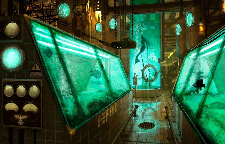 Photo wallpaper fish, mermaid, aquarium, art, bulb, laboratory, equipment, capacity