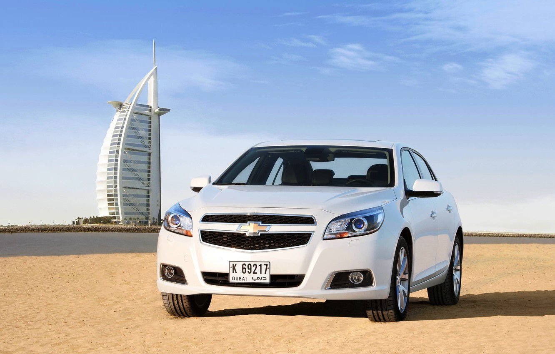 Photo wallpaper Sand, Beach, Auto, White, Chevrolet, Day, Dubai, The front, Malibu
