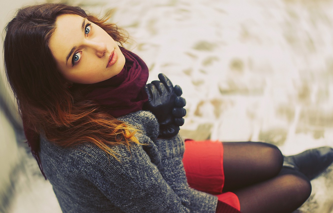 Photo wallpaper eyes, look, Girl, scarf, lips, red, sitting, sweater