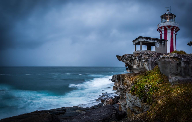 Photo wallpaper the ocean, rocks, coast, lighthouse, Australia, Sydney, Sydney, New South Wales, Hornby Lighthouse