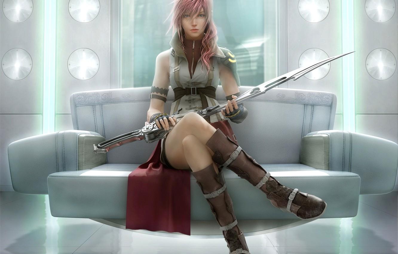 Photo wallpaper girl, sword, warrior, art, final fantasy xiii