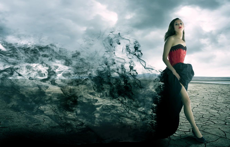 Photo wallpaper girl, darkness, dress