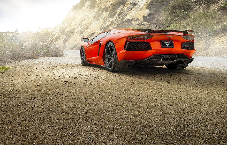 Photo wallpaper Lamborghini, Orange, Car, Sun, LP700-4, Aventador, Road, Rear