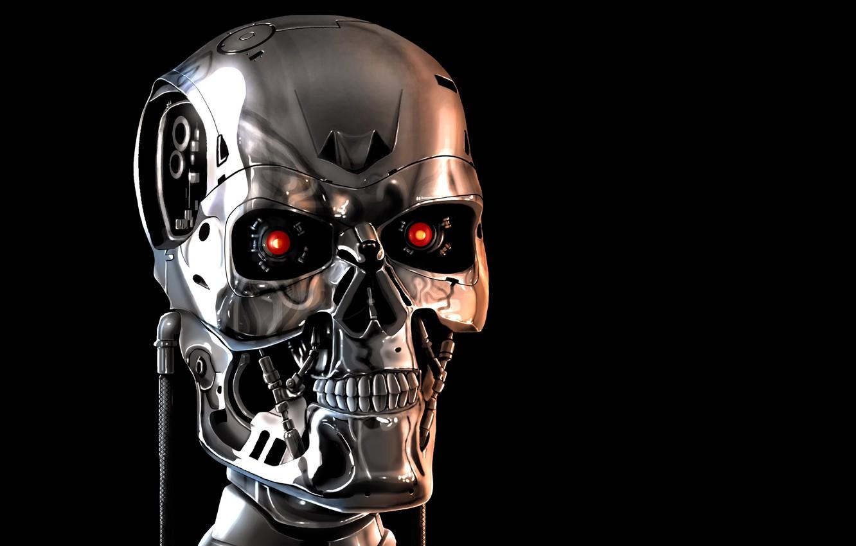 Photo wallpaper face, skull, mechanism, robot, terminator, skeleton, black background, red eyes, terminator
