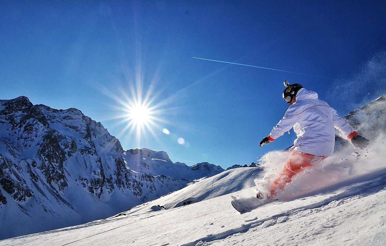Photo wallpaper the sun, snow, mountains, Snowboard, snowboard, adrenaline, kantivka, gopro