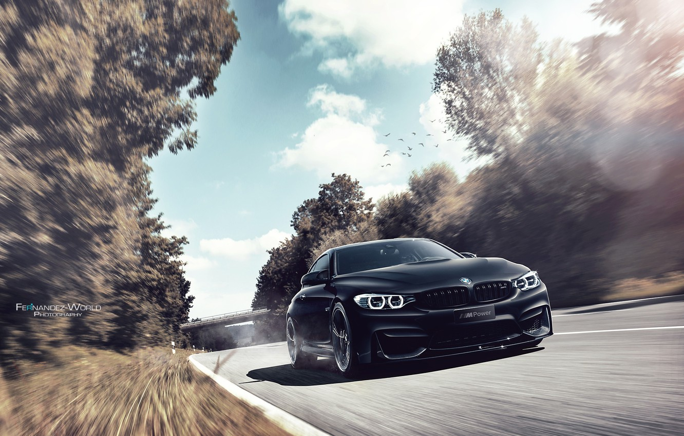 Photo wallpaper BMW, German, Car, Auto, Speed, Front, Black