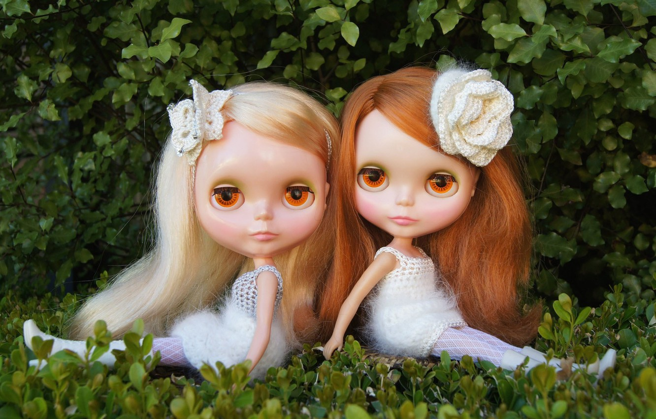 Photo wallpaper nature, girls, toys, doll, sitting, long hair