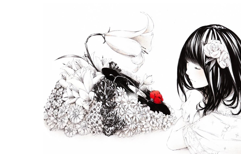 Photo wallpaper girl, flowers, music, mood, figure, anime