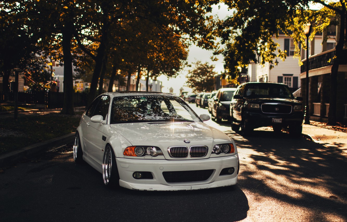 Photo wallpaper white, BMW, BMW, white, tuning, E46