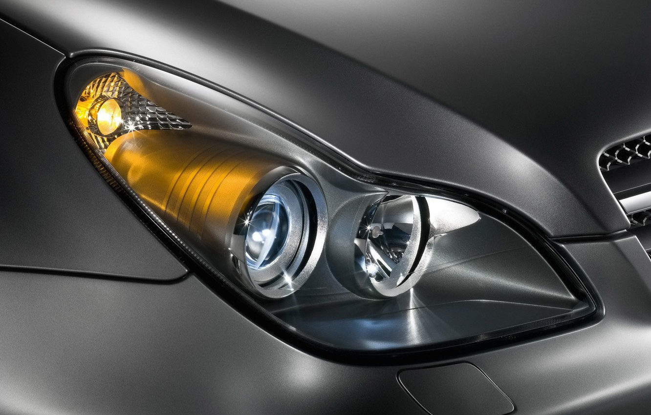 Photo wallpaper machine, Mercedes-Benz, headlight, CLS, C219, metalik