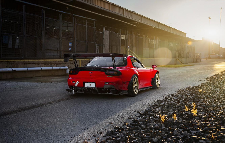 Photo wallpaper Mazda, Drift, Sun, RX-7, Wheels, Spoiler
