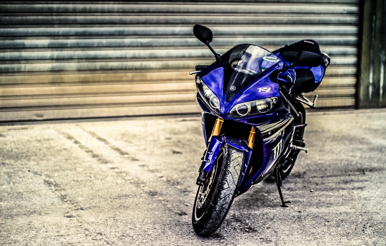 Photo wallpaper blue, motorcycle, yamaha, bike, blue, Yamaha, blinds, supersport, yzf-r1