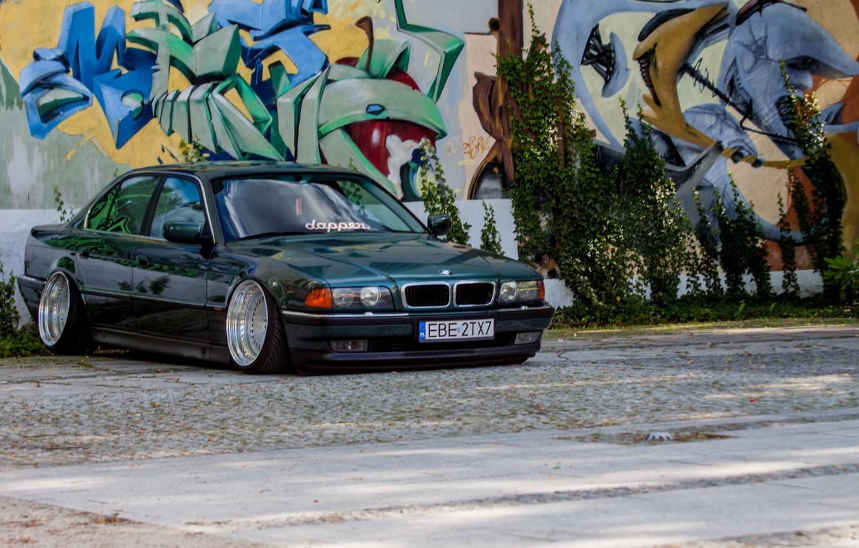 Photo wallpaper graffiti, tuning, BMW, Boomer, Classic, BMW, E38, stance, E38