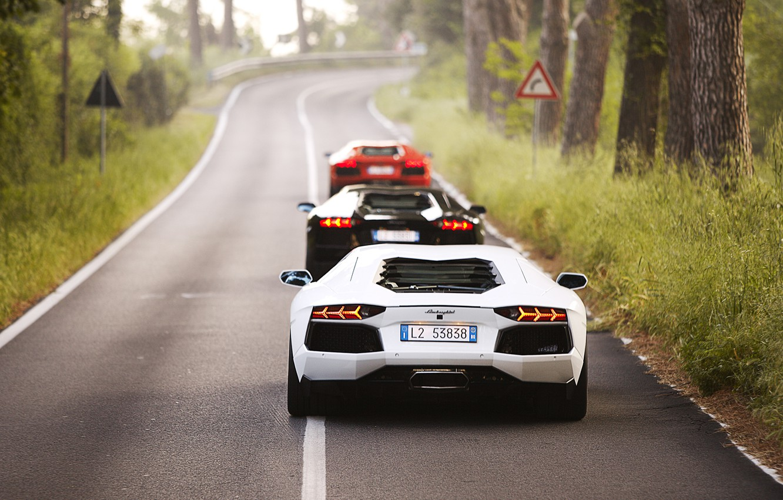 Photo wallpaper red, white, black, road, trees, three, lp700-4, Lamborghini Aventador, mix