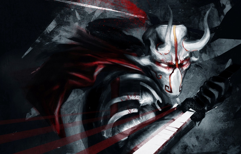 Photo wallpaper blood, sword, mask, art, horns, Dota 2, Juggernaut, Yurnero