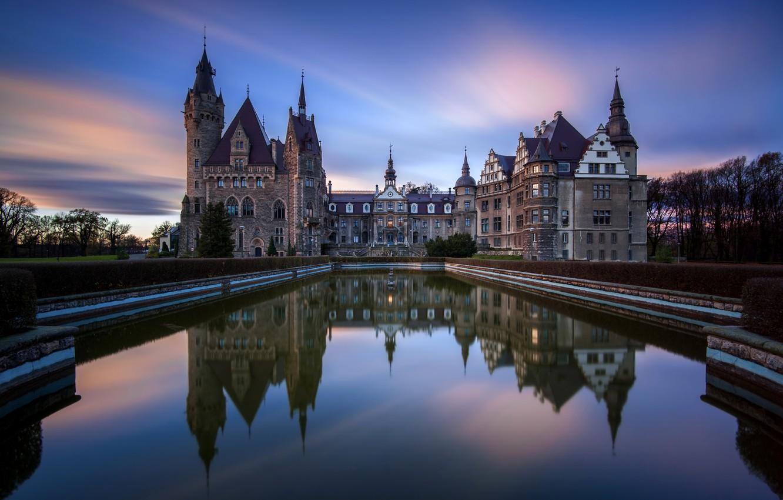 Photo wallpaper sunset, the city, pond, photo, castle, dawn, Poland, Moszna