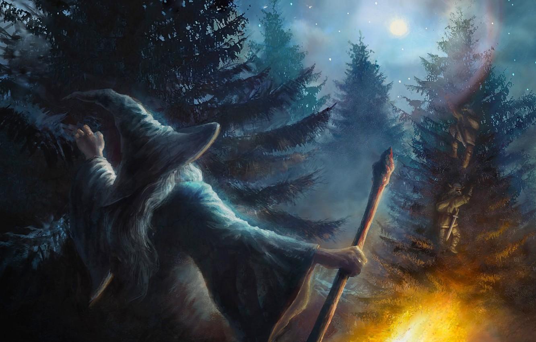 Photo wallpaper forest, trees, fire, the moon, fantasy, dwarves, staff, fire, Moon, fantasy, tree, the wizard, fanart, …