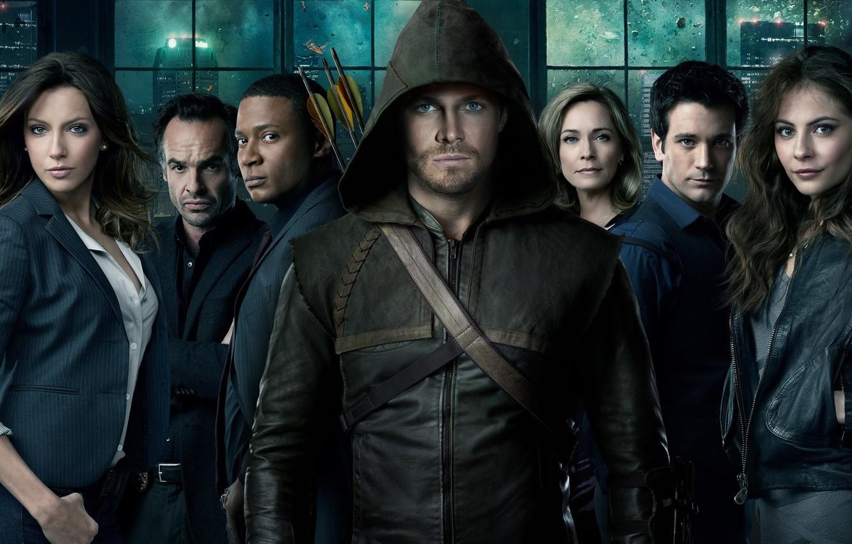 Photo wallpaper Green Arrow, Arrow, DC Comics, Arrow, Stephen Amell, Oliver Queen, Katie Cassidy, CTV, Willa Holland, …