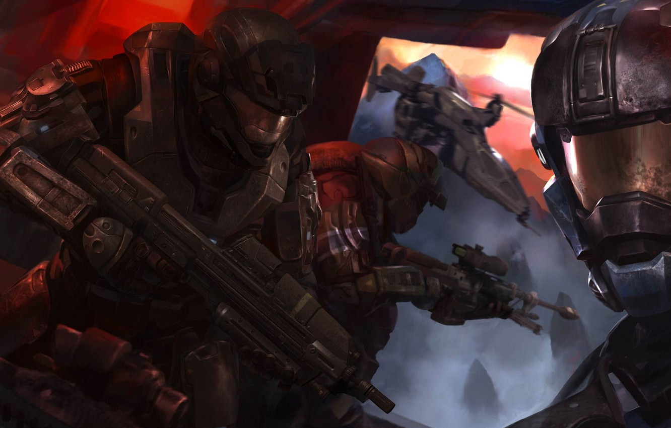 Photo wallpaper the game, figure, flight, game, soldiers, flying, halo, halo, artwork, futuristic