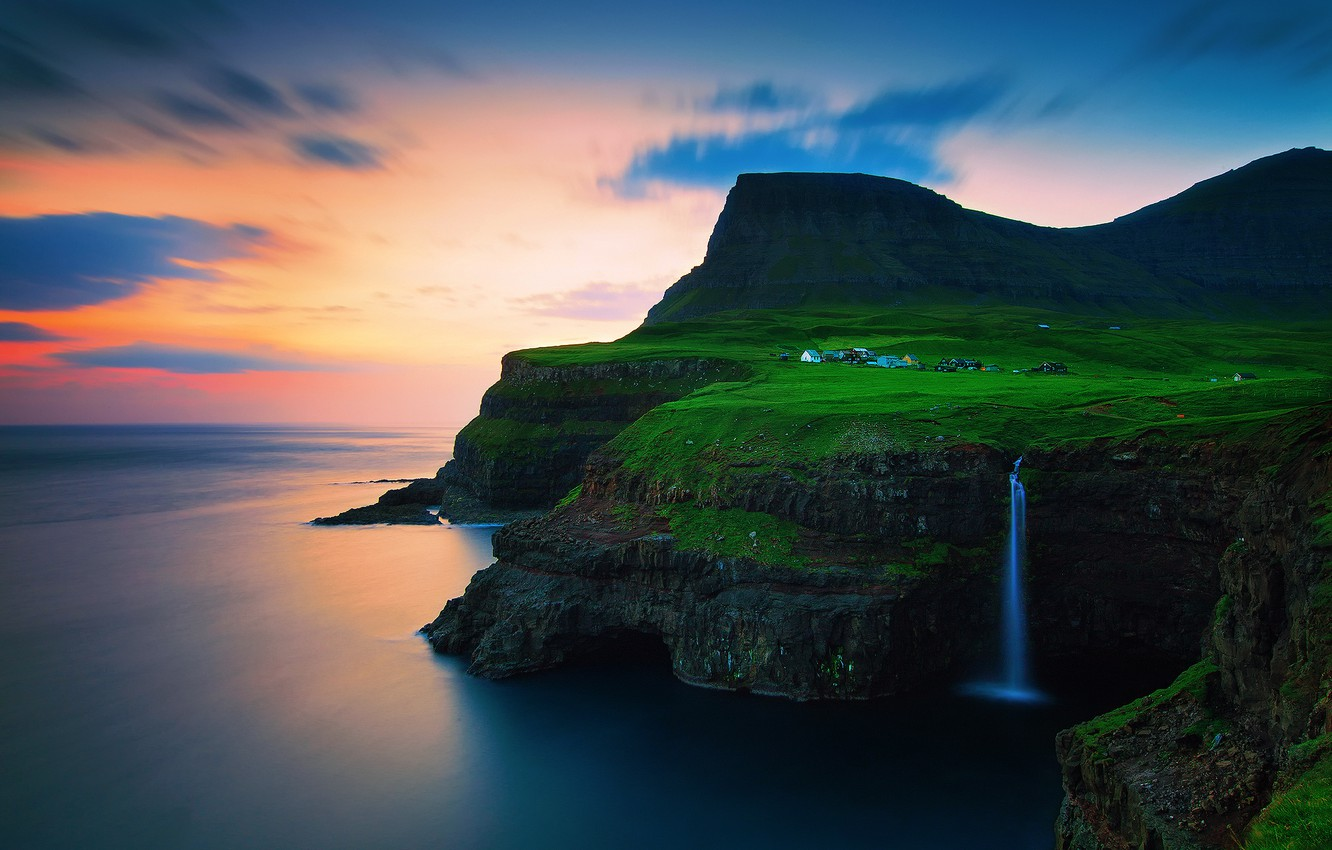 Photo wallpaper the sky, clouds, sunset, mountains, rocks, waterfall, the evening, village, on the edge, The Atlantic …