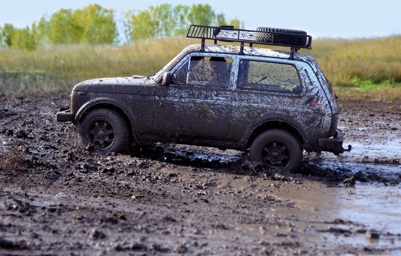 Photo wallpaper dirt, jeep, SUV, offroad, Niva, VAZ-21213