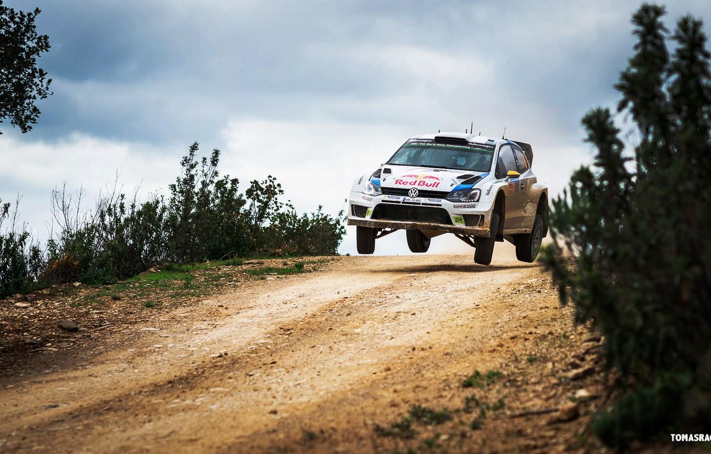Photo wallpaper Auto, Road, White, Volkswagen, Speed, WRC, Rally, Polo, Overcast, Ancestor, Andreas Mikkelsen