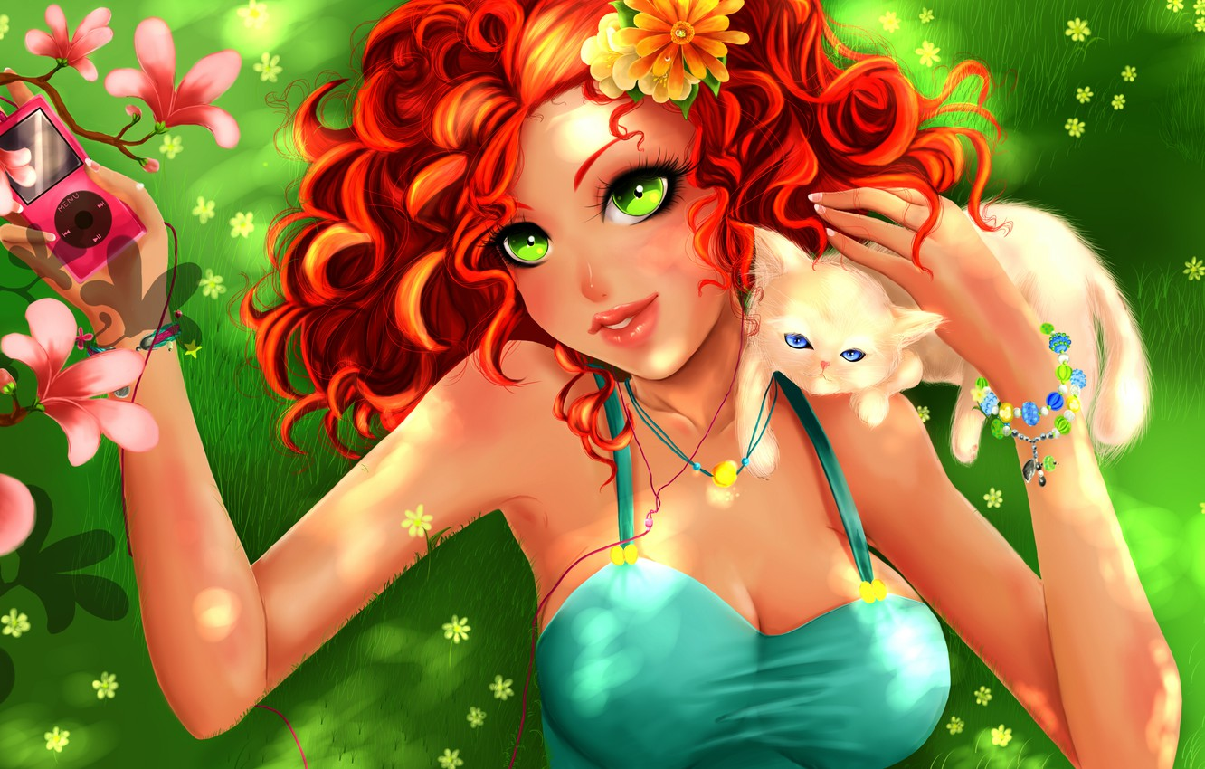 Photo wallpaper look, girl, flowers, tree, cat, anime, art, red hair, green eyes, ziecoco, summer. player