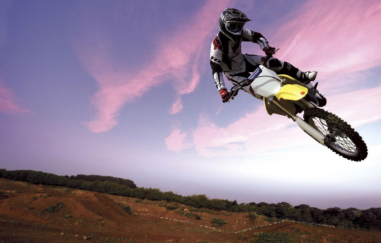 Photo wallpaper Bike, Flight, Motorcyclist