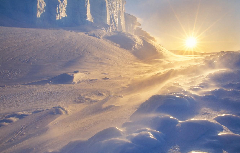 Wallpaper the sky, the sun, snow, ice, dunes, Blizzard, Antarctica images  for desktop, section природа - download
