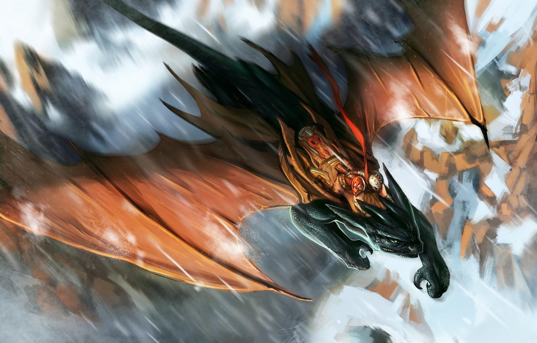 Photo wallpaper flight, fiction, dragon, people, wings, armor, warrior, art, armor