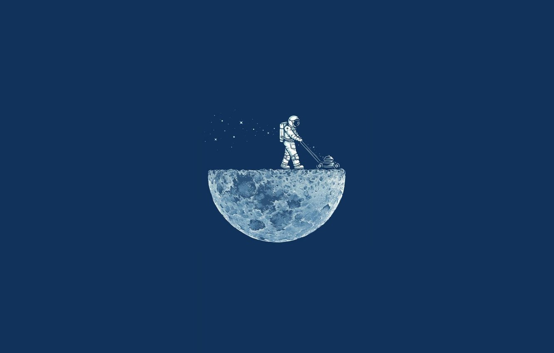 Photo wallpaper Minimalism, The moon, Astronaut, Moon, Blue, Lawnmower
