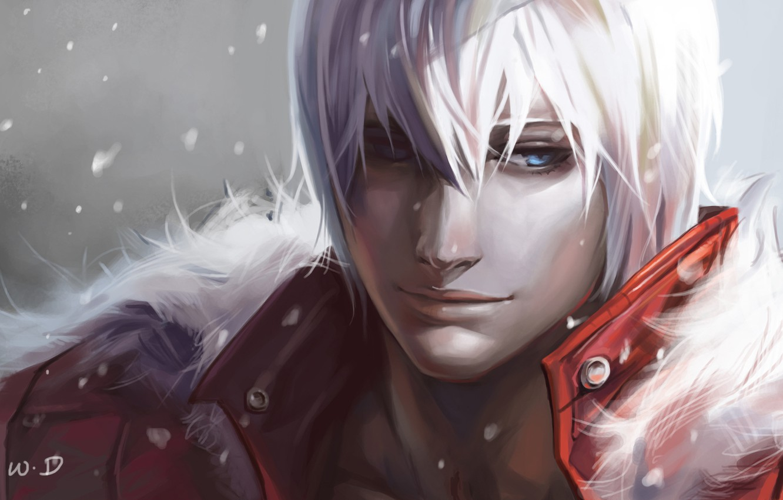 Photo wallpaper snow, art, fur, guy, devil may cry, dante, dantewontdie