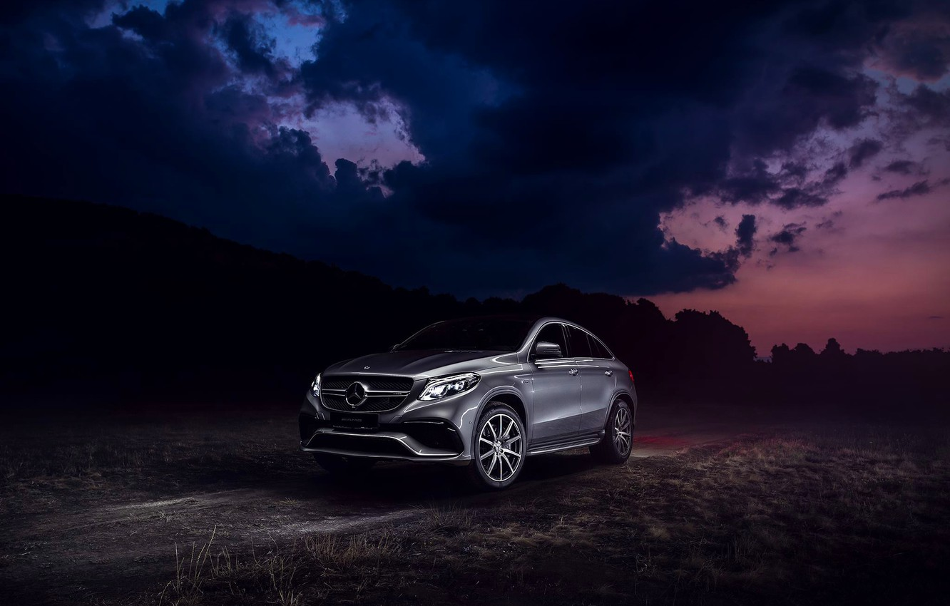 Photo wallpaper Mercedes-Benz, Clouds, Front, AMG, SUV, Silver, GLE