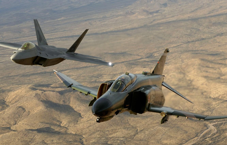 Photo wallpaper The plane, Desert, Height, Flight, F-22, Raptor, F-4, Phantom II
