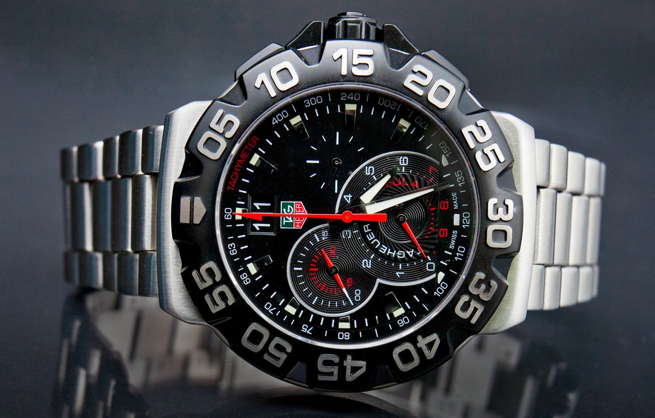 Photo wallpaper metal, red, Watch, tag heuer