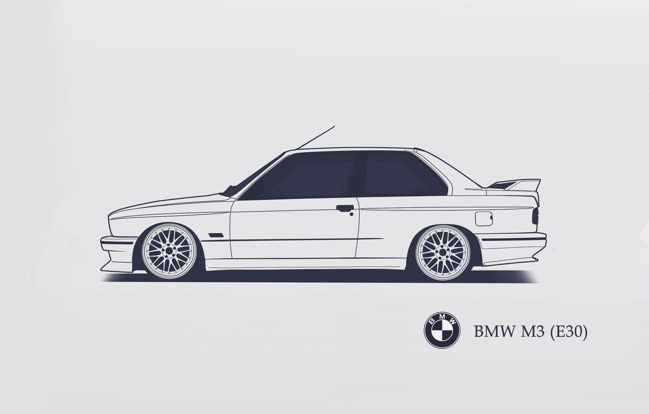 Photo wallpaper BMW, E30, Minimalistic, SrCky Design
