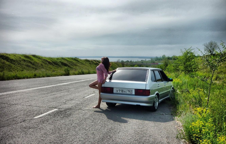 Photo wallpaper auto, girl, machine, cars, Lada 2114