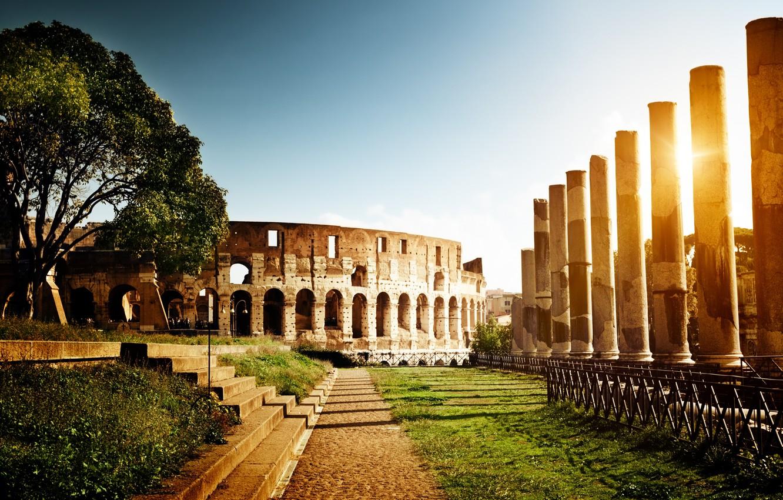 Photo wallpaper the sun, light, Rome, Colosseum, Italy, columns, steps, architecture, Italy, Colosseum, Rome, amphitheatre
