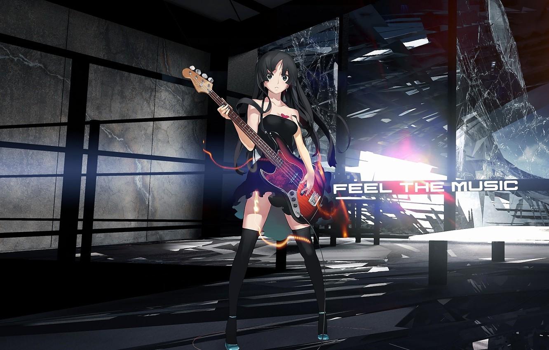Photo wallpaper glass, girl, rendering, the inscription, guitar, mio akiyama, k-on!, broken