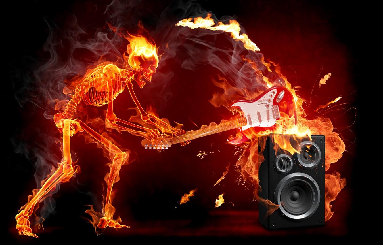 Photo wallpaper fire, guitar, skeleton, rock