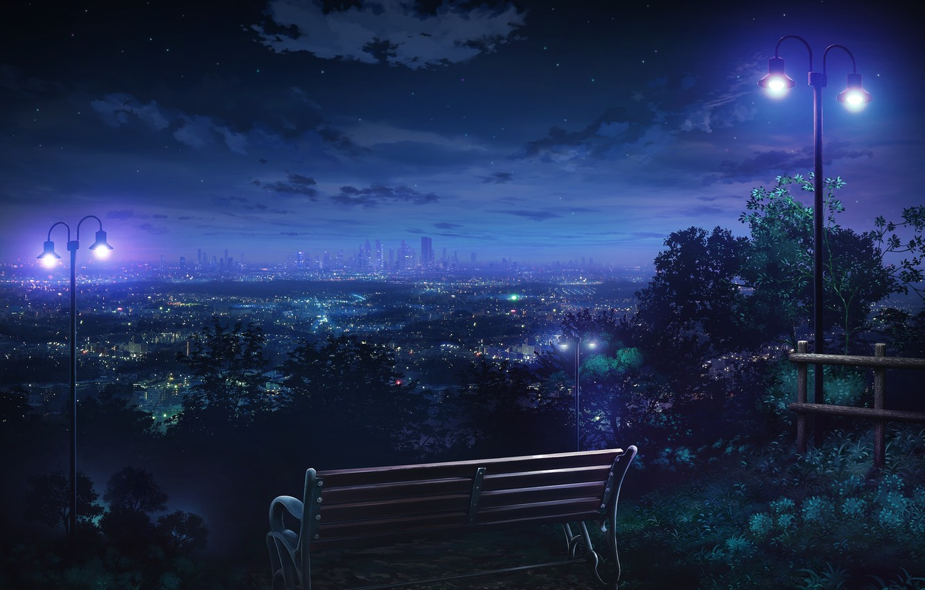 Photo wallpaper the sky, stars, clouds, bench, night, the city, lights, home, art, lights, monorisu
