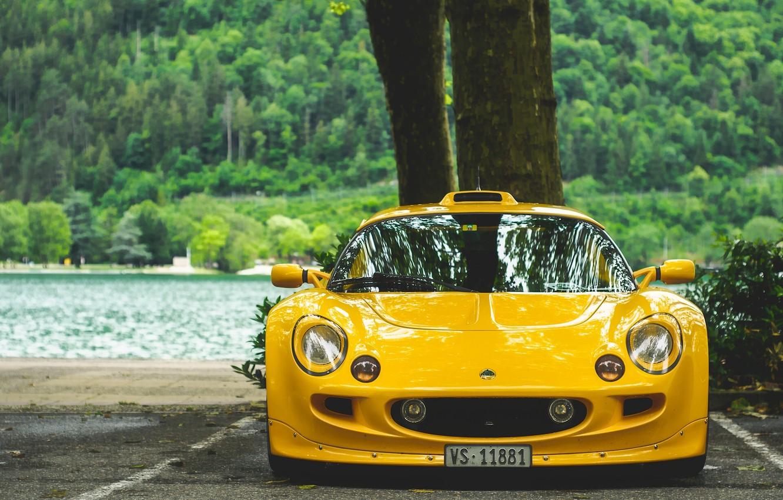 Photo wallpaper yellow, sports car, Lotus Exige, Lotus Exige S1