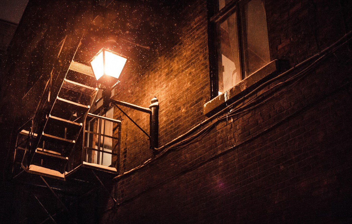 Photo wallpaper light, the building, window, ladder, lantern