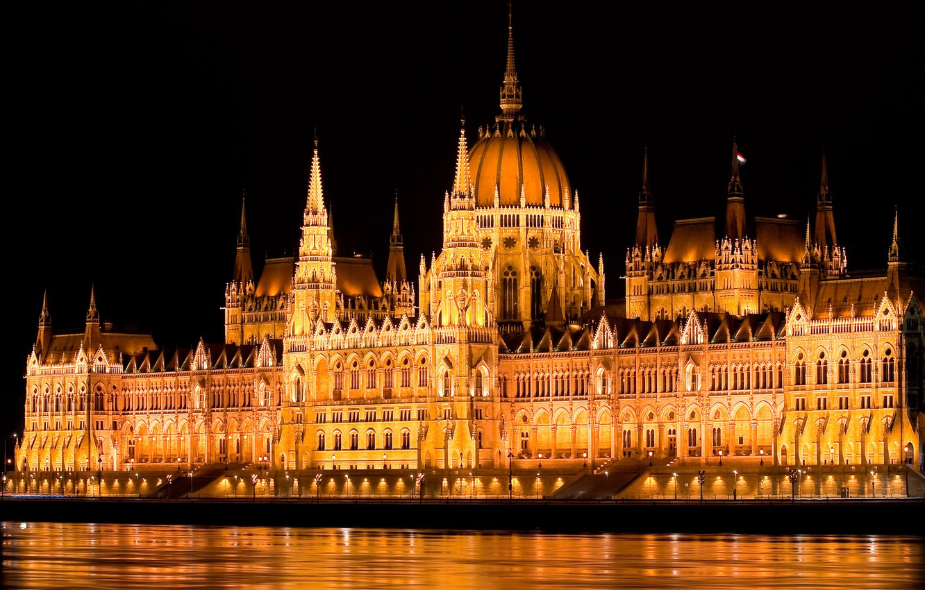 Photo wallpaper water, light, night, lights, river, backlight, capital, Parliament, Hungary, Budapest, The Danube