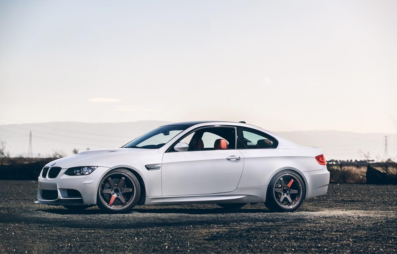 Photo wallpaper white, the sky, black, bmw, BMW, coupe, white, wheels, drives, black, side view, e92
