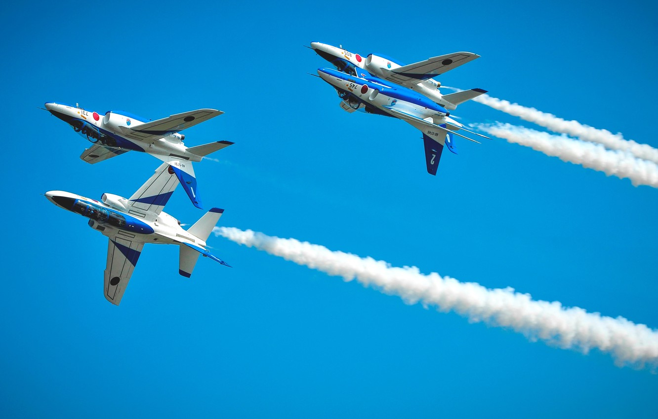 Photo wallpaper aerobatics, Blue Impulse, Kawasaki T-4, JASDF