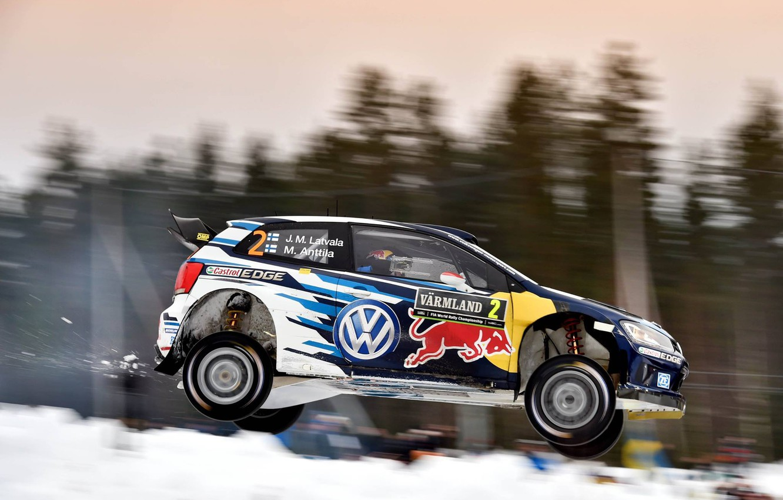 Photo wallpaper Volkswagen, Jump, Profile, Sweden, WRC, Rally, Polo, Latvala, 2015