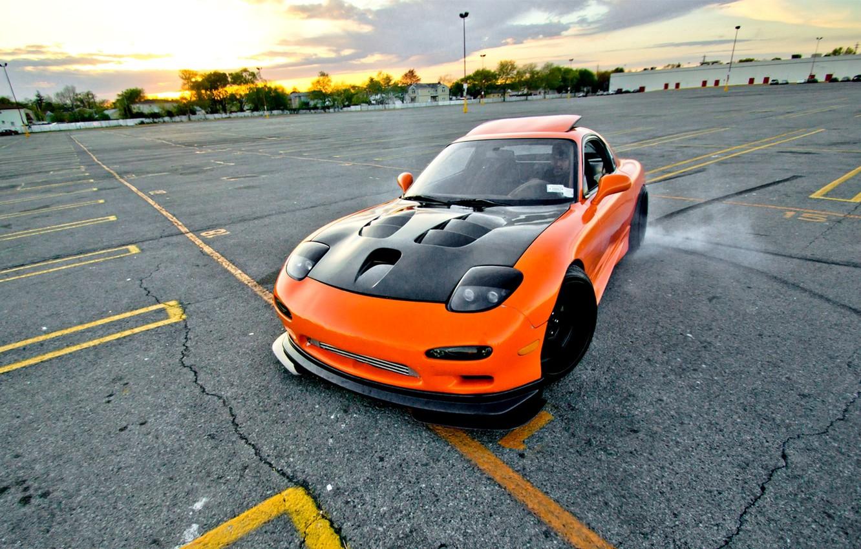 Photo wallpaper car, machine, style, Wallpaper, orange, skid, drift, drift, car, mazda, japan, style, shift, jdm, rx7, …